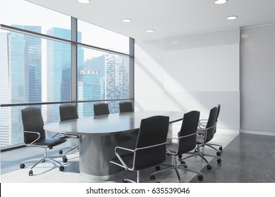 Close up of a white conference room interior with a long table and two rows of black office chairs by its sides. Horizontal poster. 3d rendering, mock up