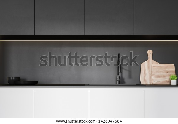 Close White Kitchen Countertop Built Sink Food And Drink