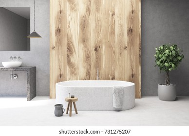 Close up of a white marble bath tub standing in a concrete and wooden bathroom with a sink and a mirror in it. 3d rendering mock up