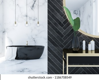 Close up of white marble and black wood bathroom interior with a black bathtub, a round mirror above a black vanity unit and panoramic window. 3d rendering