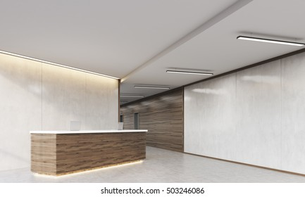 Close up of wooden reception counter standing in modern establishment lobby with plastic and wood walls. Concept of minimalism. 3d rendering. Mock up.