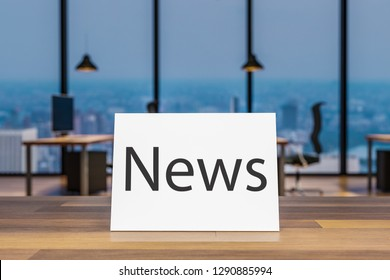 Close up wooden table with small paper sign news, blurry colorful modern office interior background, 3D Illustration