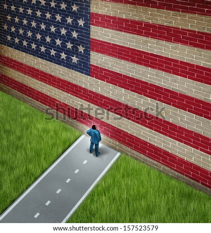 Closed America and United States government shutdown concept as a metaphor for US closure or strict immigration policy as a businessman on a road blocked  by giant brick wall with a painted flag.