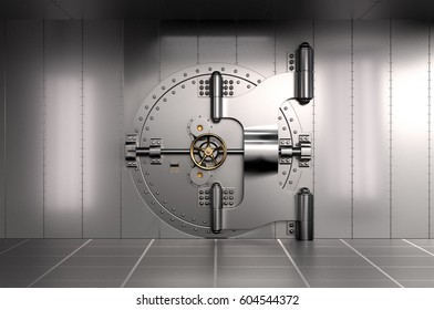 Closed Bank Vault Door. 3D illustration