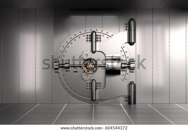 Closed Bank Vault Door. 3D illustration