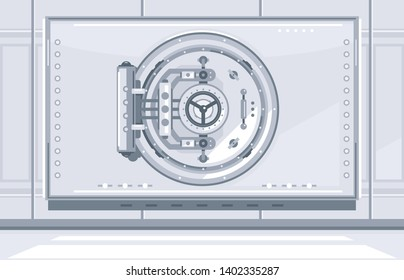 Closed bank vault door in front view in bank repository, simplify flat style isolated, reliable repository for saving assets