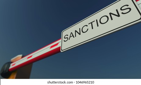 Closed barrier gate with SANCTIONS sign. Conceptual 3D rendering
