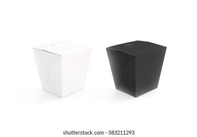 Closed black and white blank wok box mockup set, stand isolated, 3d rendering. Empty noodle carton box mock up. Asian take away udon food paper bag template. Chinese pasta meal container packaging.