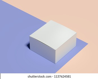 Closed blank white cardboard box on multicolour background, 3d rendering.