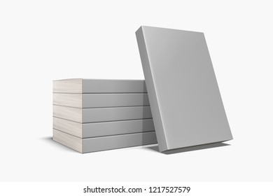 Closed books with blank gray cover. Mock-up magazine or brochure isolated on soft gray background.