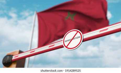 Closed boom barrier with stop immigration sign against the moroccan flag. restricted border crossing or immigration ban in morocco.  3D rendering
