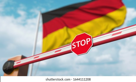 Closed boom barrier with stop sign against the German flag. Restricted entry or certain ban in Germany. 3D rendering