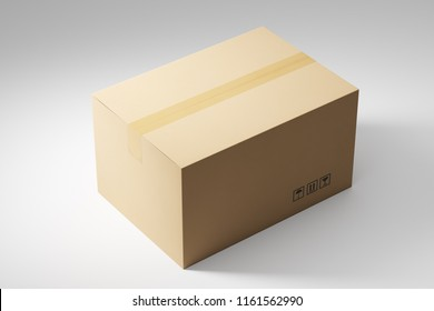 Closed cardboard box for moving to office, home on a white background. Concep tof relocation. 3d rendeing