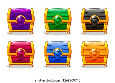 Closed colored wooden chest For Ui Game, GUI icons. Similar JPG copy