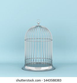 Closed decorative bird cage. 3d illustration on blue background