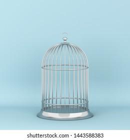 Closed decorative bird cage. 3d illustration on blue background
