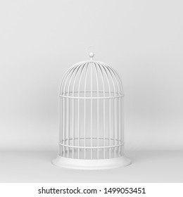 Closed decorative bird cage. 3d illustration on gray background