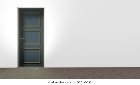 Closed door on the left side of a white wall, brown floor with crackle pattern. Horizontal 16:9 interior 3d render.