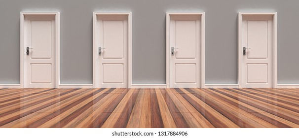 Closed doors. Four closed white doors on grey wall and wooden floor background, banner, front view. 3d illustration