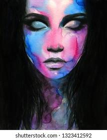 geschlossene Augen. Galaxie-Mädchen. Fantasiegrafik. Aquarellmalerei