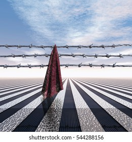 Closed frontier with barbed wire and cloth, 3D Illustration