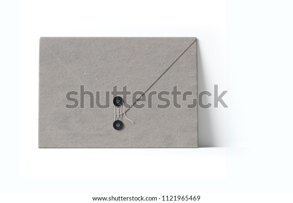 Closed gray envelope with a rope on a white background. Front view. 3D illustration