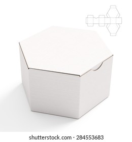 Closed Hexagonal Cardboard Box Box with Die Cut Template on White Background