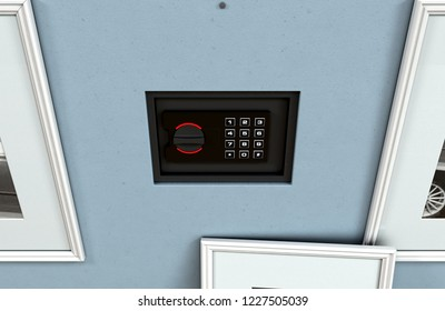 A closed hidden wall safe revealed behind a hanging framed picture on a flat blue wall in a house with shiny wooden floors - 3D render