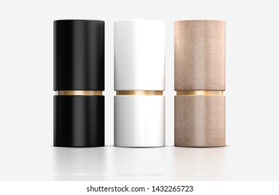 Closed Kraft paper tube with golden cardboard tin can Mockup. Cylindrical Tube Boxes Packaging Mockup with golden loop, 3d rendering