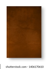 Closed leather blank book mockup, isolated on white