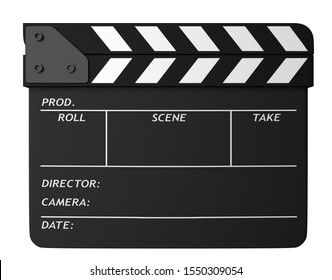 Closed movie black clapper board isolated on white background. Movie, cinema, film making industry equipment. 3D Illustration.