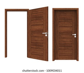 Closed and Open Doors Isolated. 3D rendering