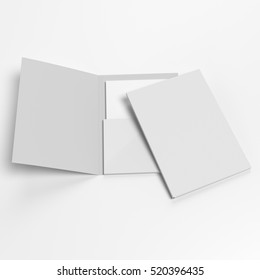 Closed and open mock-up folders on white. 3D rendering