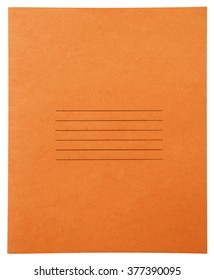 Closed orange notebook isolated on white background with clipping path
