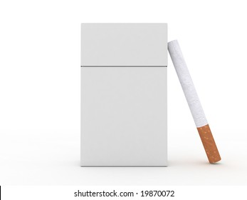 Closed pack of cigarettes and cigarette isolated on white background