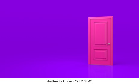 Closed pink door isolated on a purple background. Room interior design element. Metaphor of possibilities. Choice, business and success concept. 3d render