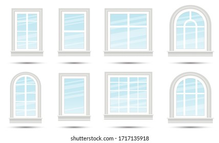 Closed Realistic Glass Windows Set Isolated on White. Design Element of Architecture. Window Frames.