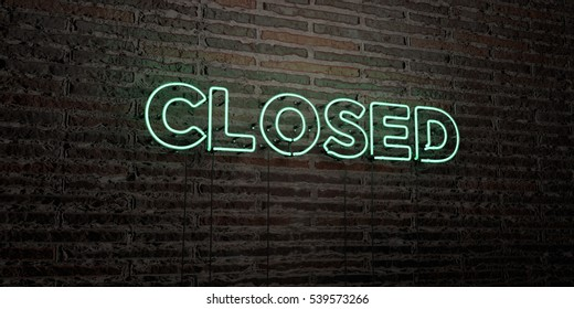 CLOSED -Realistic Neon Sign on Brick Wall background - 3D rendered royalty free stock image. Can be used for online banner ads and direct mailers.