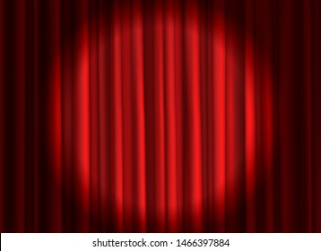 Closed red curtain. Theatrical drapes stage curtains opening ceremony theater movie spotlight closed velvet fabric textile background