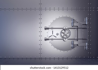 Closed and secured stainless steel bank vault 3D Rendering, 3D Illustration