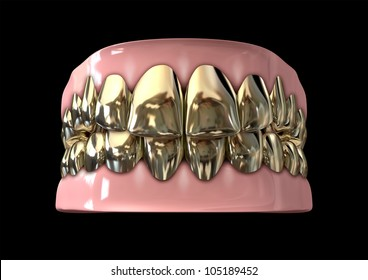 A closed set of golden human teeth set in gums on a dark background