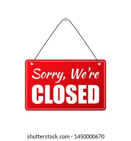 Closed Store Sign. Stock illustration.