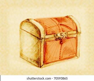 closed treasure chest, in pencil