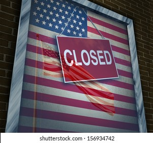 Closed United States of America concept as a metaphor for US government shutdown or failed American business and strict immigration policy as a store window sign with a reflection of a flag on glass.