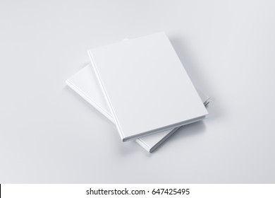Closed white book mock-up on the blank background