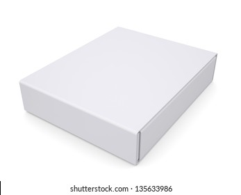 Closed white box. Isolated render on a white background