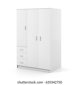 Closed white wardrobe isolated on white background with clipping path. 3d illustration