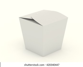 The closed white wok box mock up with blank. Package mockup for design isolated on white background. Asian package for food, rice, noodles, potatoes fastfood. Realistic high resolution 3d illustration