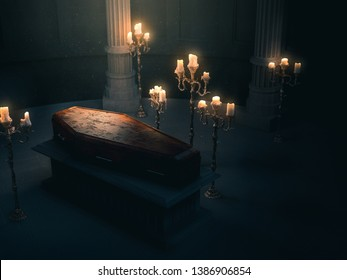 closed wood coffin with candles in a dark crypt / 3D rendering, illustration
