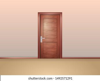 Closed wooden door in the empty room. Vector illustration.